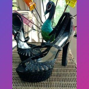 Guess Shoes - Guess Black Platform Stiletto Style Open Toe Strap